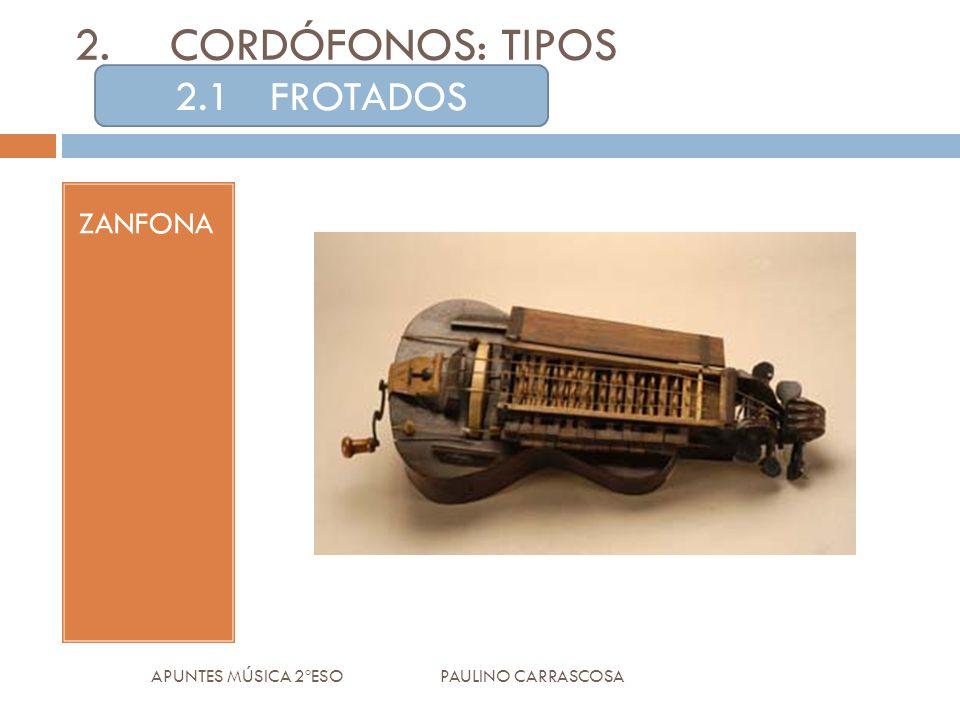 2.CORDÓFONOS: TIPOS ZANFONA APUNTES MÚSICA 2ºESO PAULINO CARRASCOSA 2.1FROTADOS
