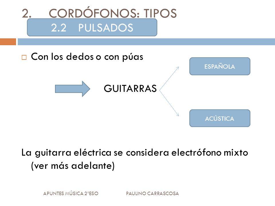Con los dedos o con púas GUITARRAS La guitarra eléctrica se considera electrófono mixto (ver más adelante) APUNTES MÚSICA 2ºESO PAULINO CARRASCOSA 2.CORDÓFONOS: TIPOS 2.2PULSADOS ESPAÑOLA ACÚSTICA