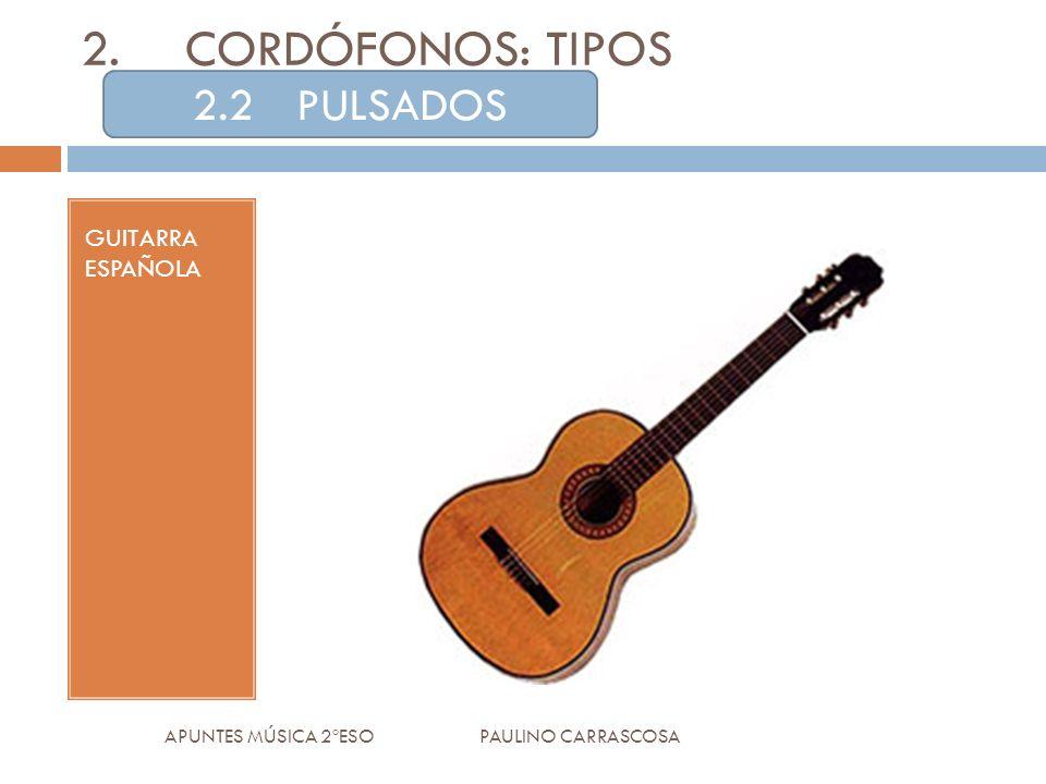 GUITARRA ESPAÑOLA APUNTES MÚSICA 2ºESO PAULINO CARRASCOSA 2.CORDÓFONOS: TIPOS 2.2PULSADOS