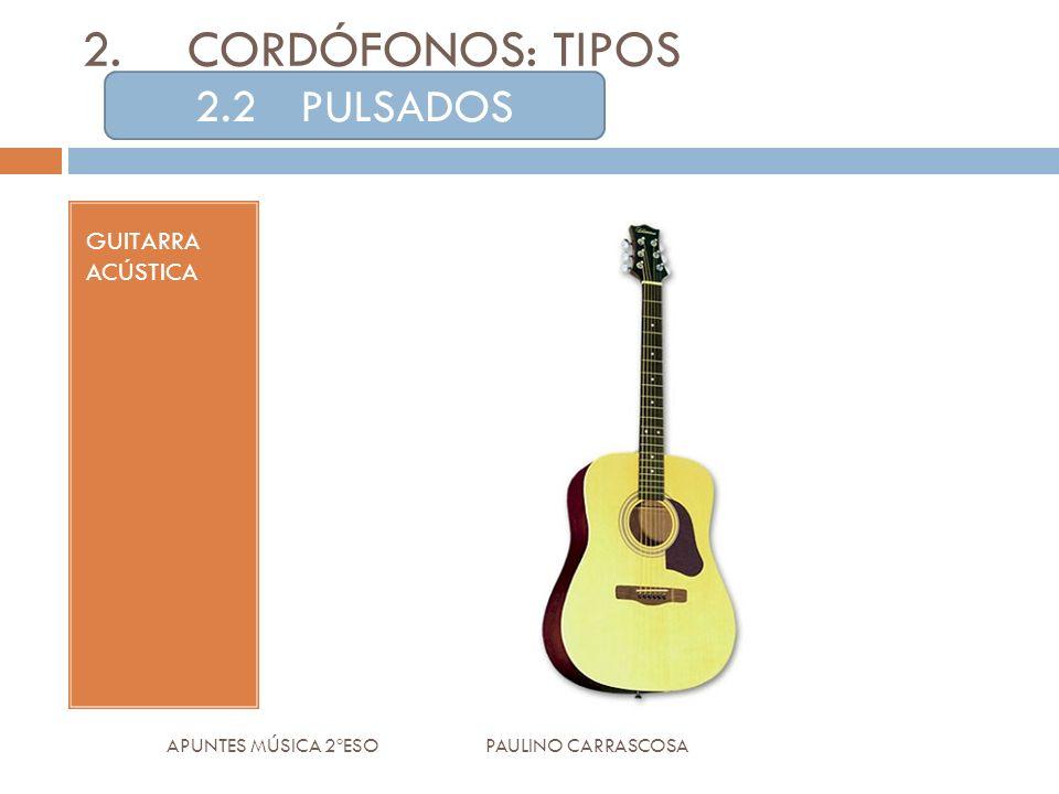 GUITARRA ACÚSTICA APUNTES MÚSICA 2ºESO PAULINO CARRASCOSA 2.CORDÓFONOS: TIPOS 2.2PULSADOS