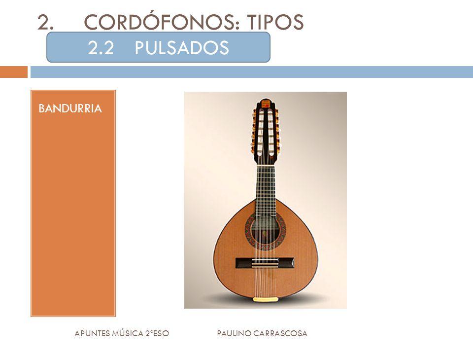 BANDURRIA APUNTES MÚSICA 2ºESO PAULINO CARRASCOSA 2.CORDÓFONOS: TIPOS 2.2PULSADOS