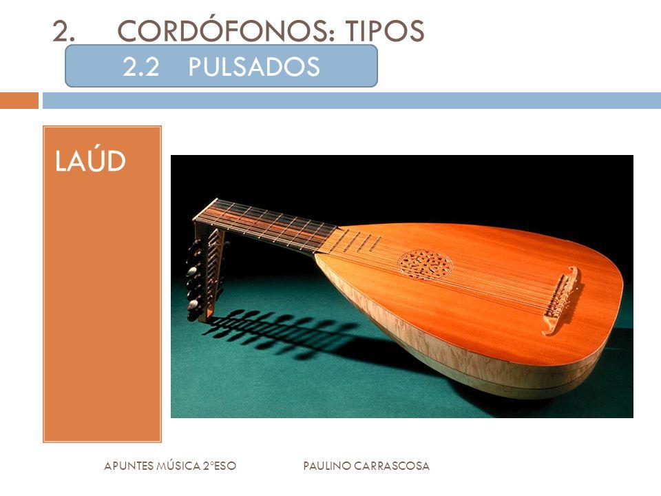LAÚD APUNTES MÚSICA 2ºESO PAULINO CARRASCOSA 2.CORDÓFONOS: TIPOS 2.2PULSADOS