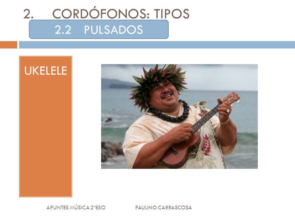 UKELELE APUNTES MÚSICA 2ºESO PAULINO CARRASCOSA 2.CORDÓFONOS: TIPOS 2.2PULSADOS