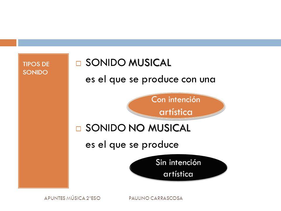 TIPOS DE SONIDO APUNTES MÚSICA 2ºESO PAULINO CARRASCOSA MUSICAL SONIDO MUSICAL es el que se produce con una NO MUSICAL SONIDO NO MUSICAL es el que se produce Con intención artística
