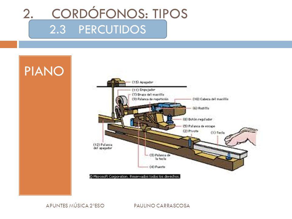 PIANO APUNTES MÚSICA 2ºESO PAULINO CARRASCOSA 2.CORDÓFONOS: TIPOS 2.3PERCUTIDOS
