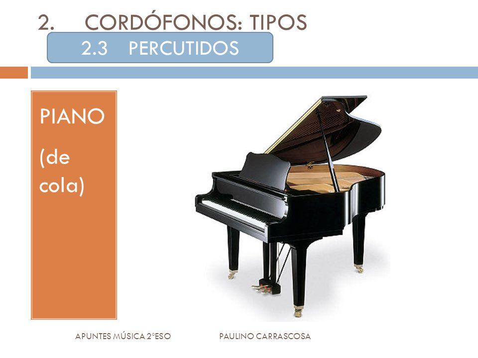 PIANO (de cola) APUNTES MÚSICA 2ºESO PAULINO CARRASCOSA 2.CORDÓFONOS: TIPOS 2.3PERCUTIDOS