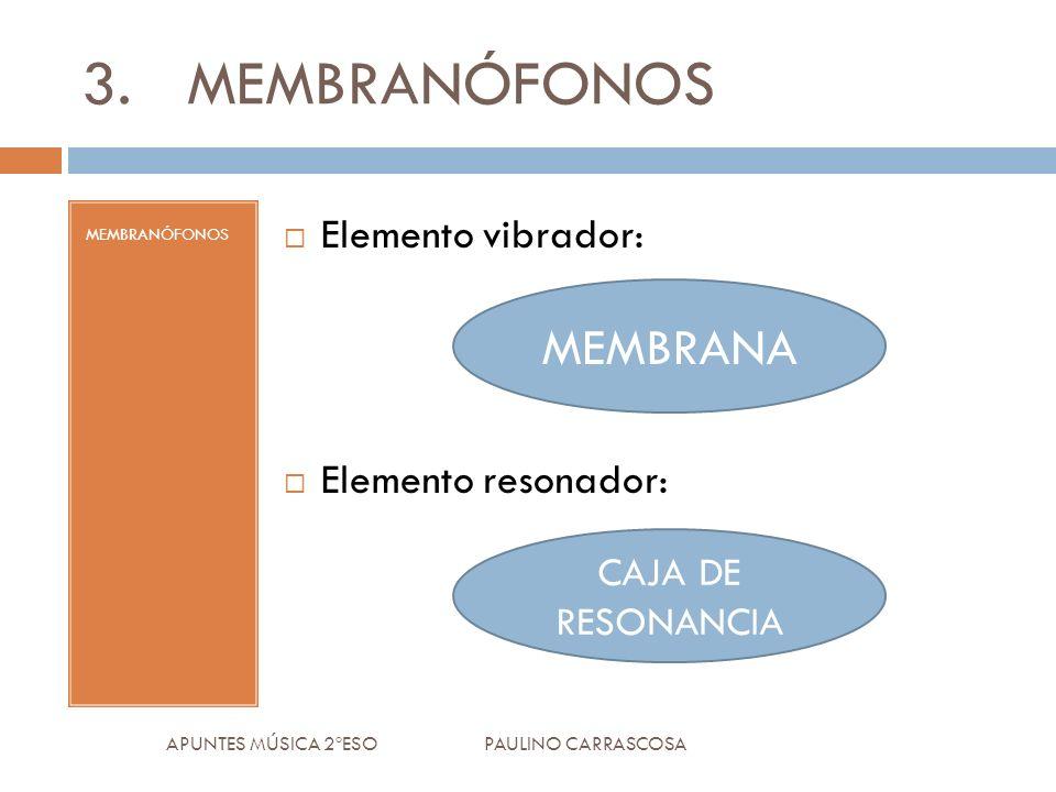 APUNTES MÚSICA 2ºESO PAULINO CARRASCOSA 3.MEMBRANÓFONOS MEMBRANÓFONOS Elemento vibrador: Elemento resonador: MEMBRANA CAJA DE RESONANCIA