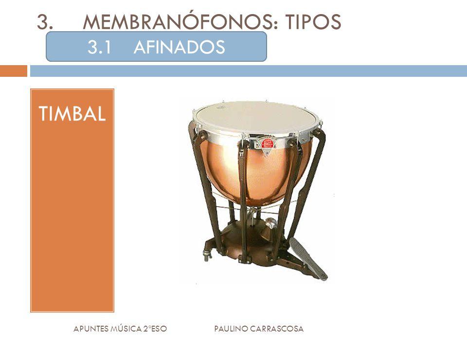 TIMBAL APUNTES MÚSICA 2ºESO PAULINO CARRASCOSA 3.MEMBRANÓFONOS: TIPOS 3.1AFINADOS