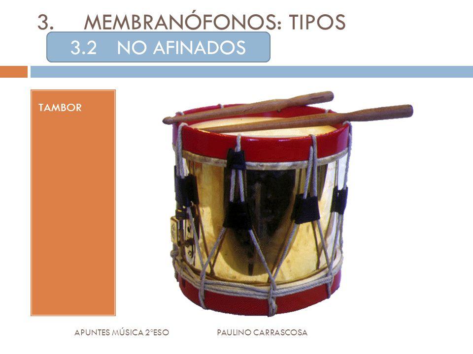 TAMBOR APUNTES MÚSICA 2ºESO PAULINO CARRASCOSA 3.MEMBRANÓFONOS: TIPOS 3.2NO AFINADOS