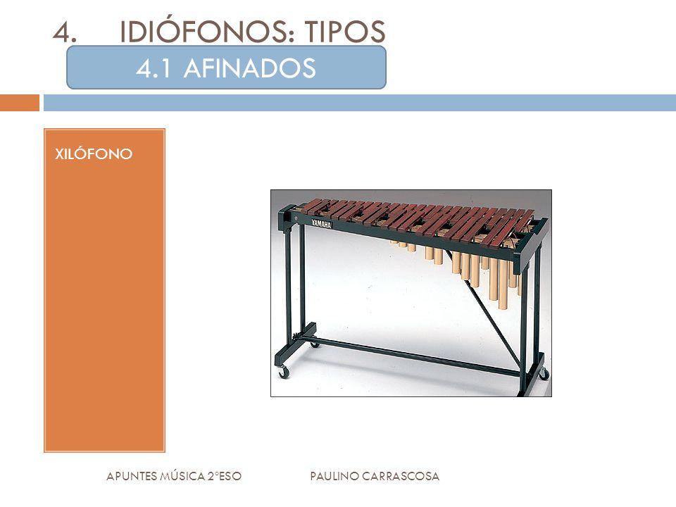 XILÓFONO APUNTES MÚSICA 2ºESO PAULINO CARRASCOSA 4.IDIÓFONOS: TIPOS 4.1 AFINADOS