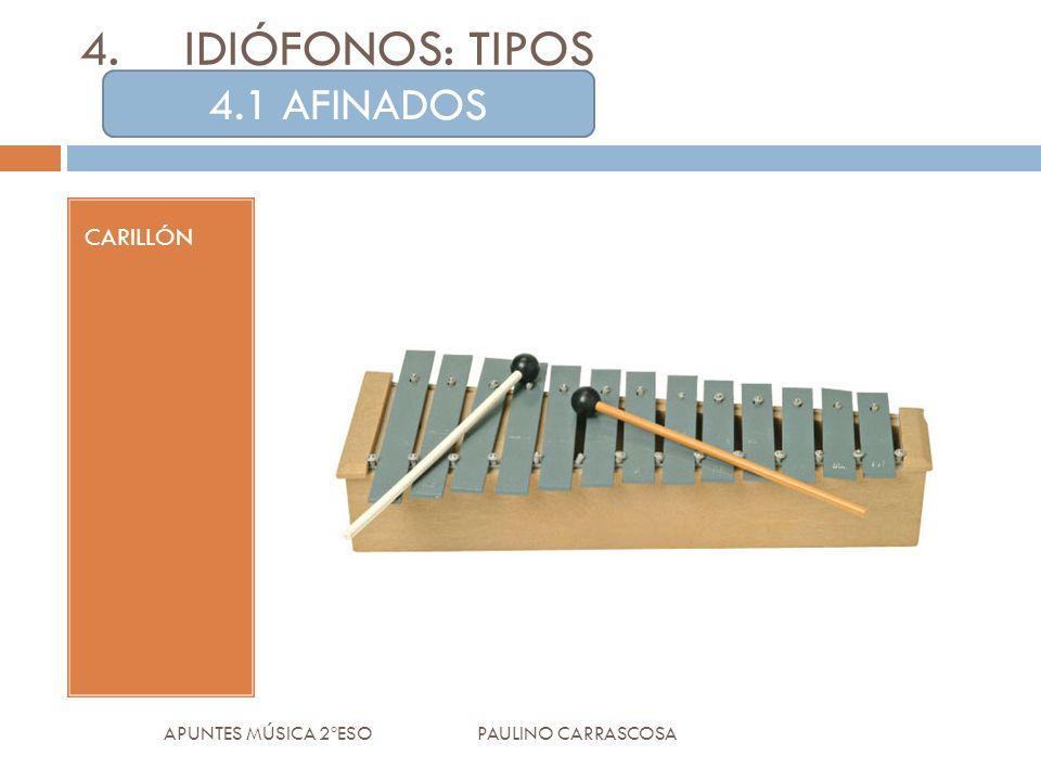 CARILLÓN APUNTES MÚSICA 2ºESO PAULINO CARRASCOSA 4.IDIÓFONOS: TIPOS 4.1 AFINADOS