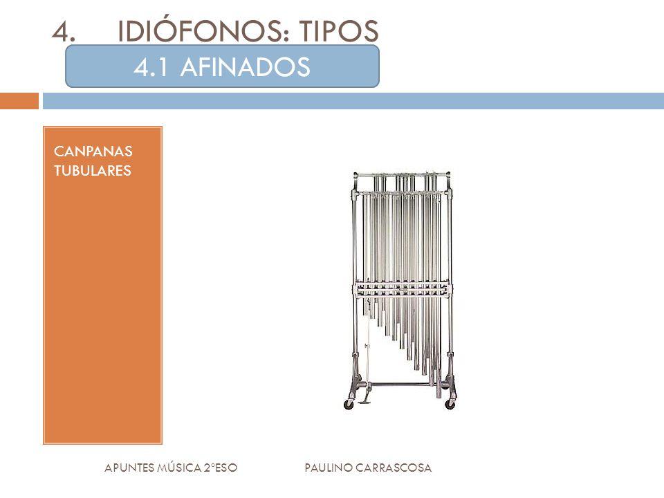 CANPANAS TUBULARES APUNTES MÚSICA 2ºESO PAULINO CARRASCOSA 4.IDIÓFONOS: TIPOS 4.1 AFINADOS