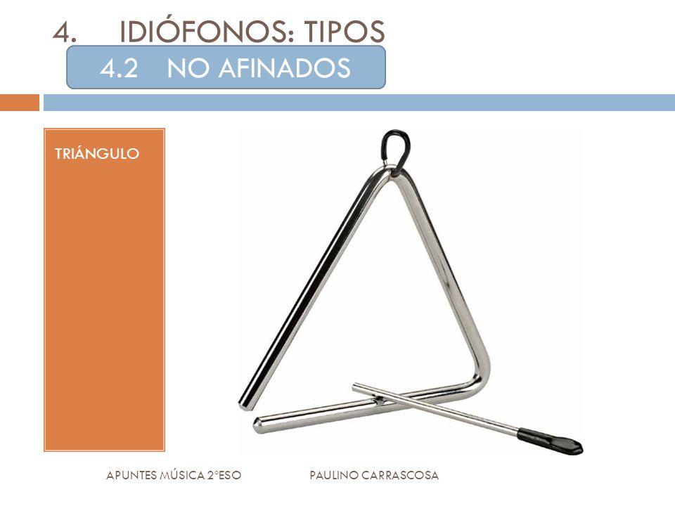 TRIÁNGULO APUNTES MÚSICA 2ºESO PAULINO CARRASCOSA 4.IDIÓFONOS: TIPOS 4.2NO AFINADOS
