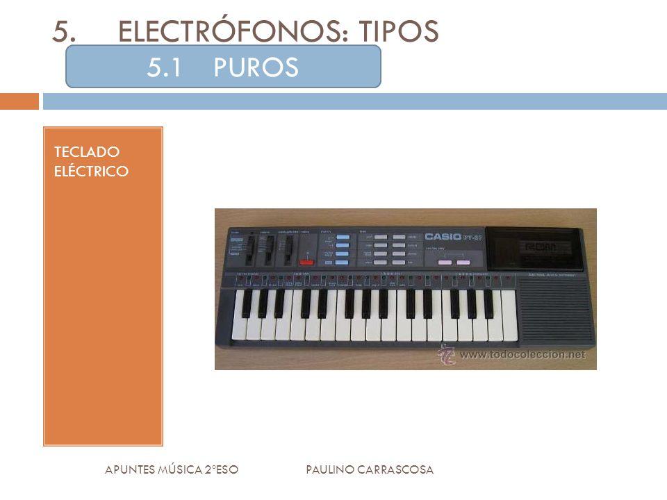 TECLADO ELÉCTRICO APUNTES MÚSICA 2ºESO PAULINO CARRASCOSA 5.ELECTRÓFONOS: TIPOS 5.1PUROS