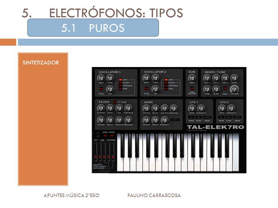 SINTETIZADOR APUNTES MÚSICA 2ºESO PAULINO CARRASCOSA 5.ELECTRÓFONOS: TIPOS 5.1PUROS