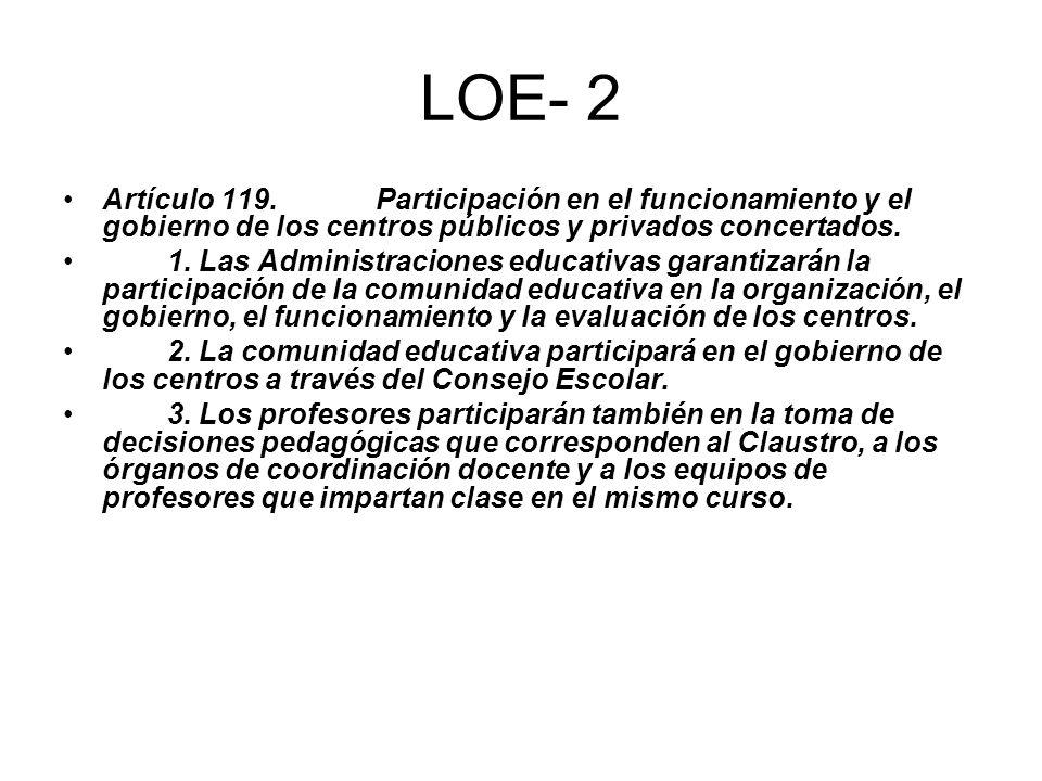 LOE- 2 Artículo 119. Participación en el funcionamiento y el gobierno de los centros públicos y privados concertados. 1. Las Administraciones educativ