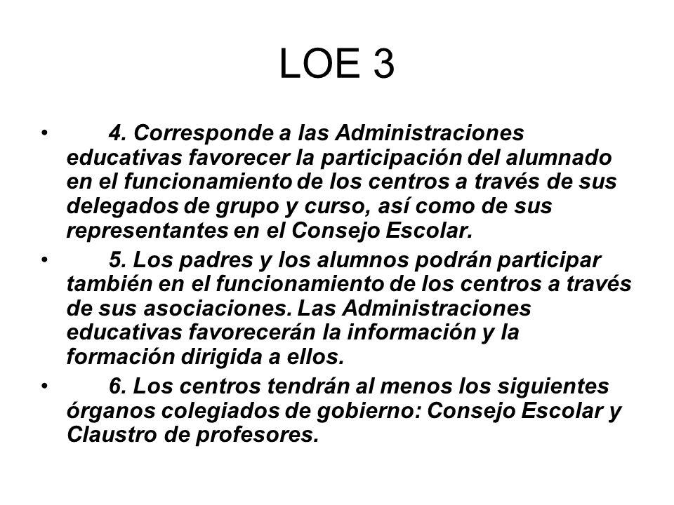 LOE 3 4. Corresponde a las Administraciones educativas favorecer la participación del alumnado en el funcionamiento de los centros a través de sus del
