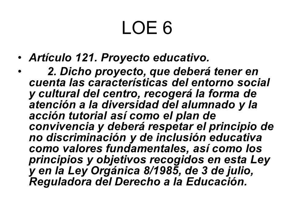 LOE 6 Artículo 121. Proyecto educativo. 2. Dicho proyecto, que deberá tener en cuenta las características del entorno social y cultural del centro, re