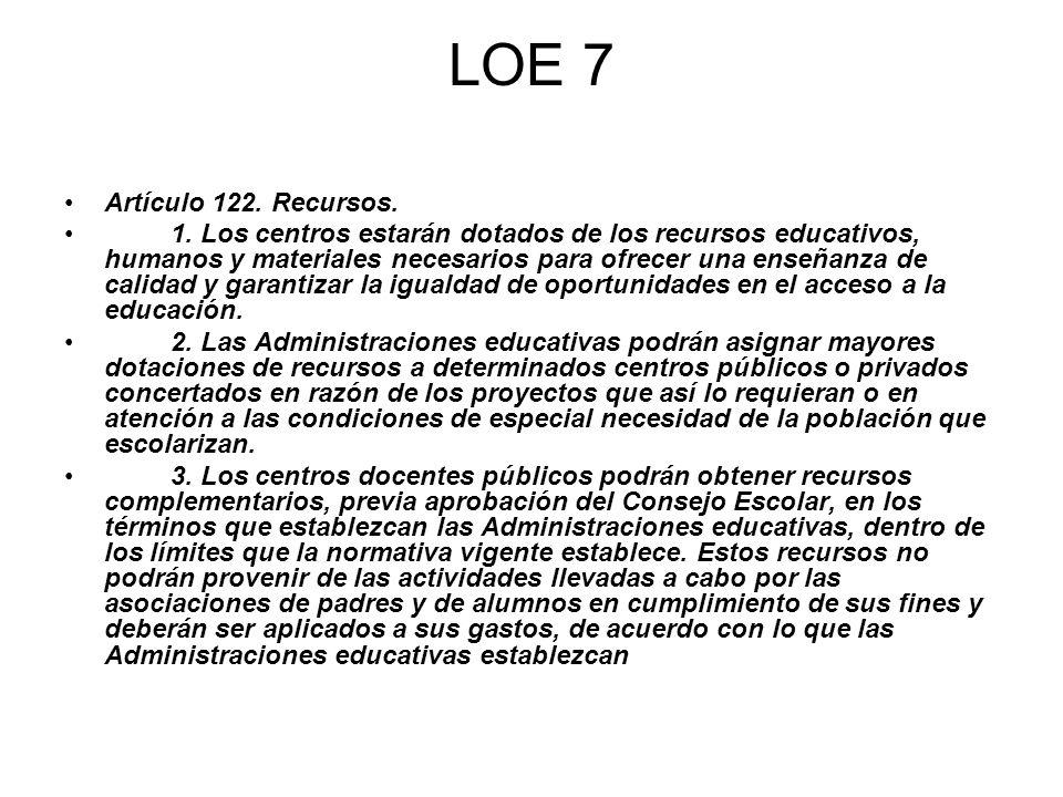 LOE 7 Artículo 122. Recursos. 1. Los centros estarán dotados de los recursos educativos, humanos y materiales necesarios para ofrecer una enseñanza de