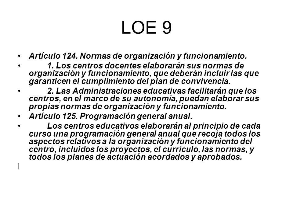LOE 9 Artículo 124. Normas de organización y funcionamiento. 1. Los centros docentes elaborarán sus normas de organización y funcionamiento, que deber