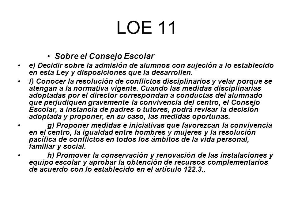 LOE 11 Sobre el Consejo Escolar e) Decidir sobre la admisión de alumnos con sujeción a lo establecido en esta Ley y disposiciones que la desarrollen.