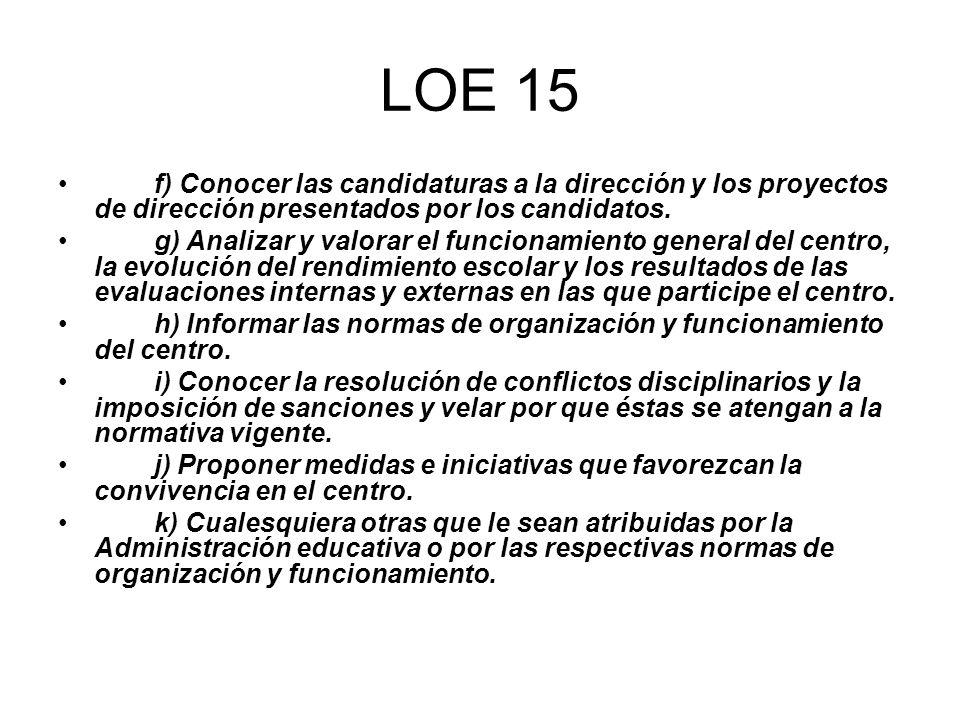 LOE 15 f) Conocer las candidaturas a la dirección y los proyectos de dirección presentados por los candidatos. g) Analizar y valorar el funcionamiento