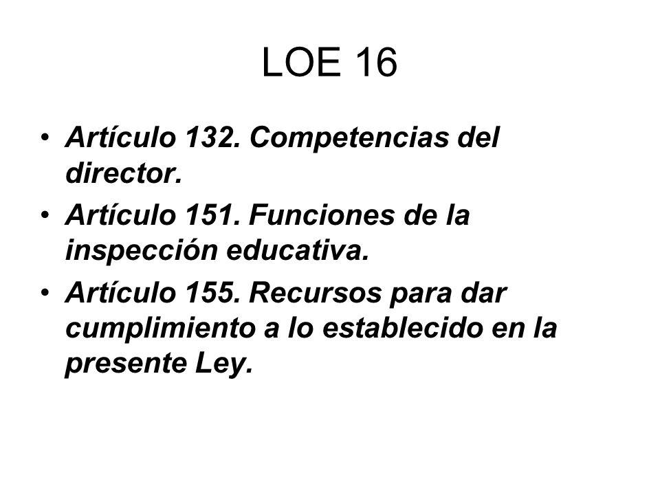 LOE 16 Artículo 132. Competencias del director. Artículo 151. Funciones de la inspección educativa. Artículo 155. Recursos para dar cumplimiento a lo