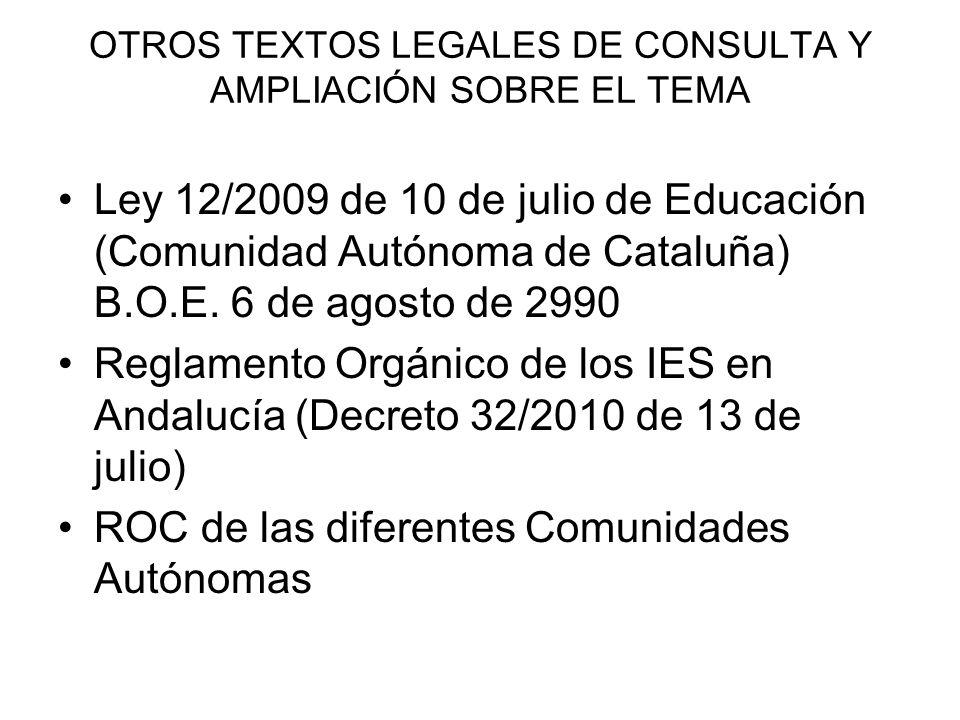 OTROS TEXTOS LEGALES DE CONSULTA Y AMPLIACIÓN SOBRE EL TEMA Ley 12/2009 de 10 de julio de Educación (Comunidad Autónoma de Cataluña) B.O.E. 6 de agost