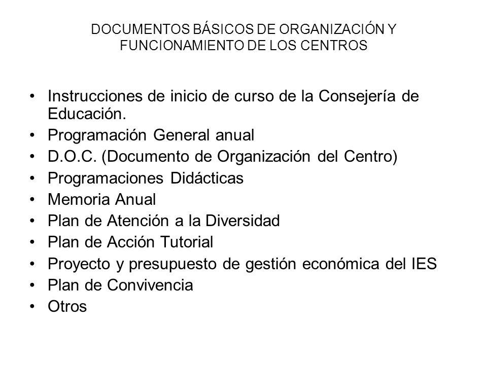 DOCUMENTOS BÁSICOS DE ORGANIZACIÓN Y FUNCIONAMIENTO DE LOS CENTROS Instrucciones de inicio de curso de la Consejería de Educación. Programación Genera