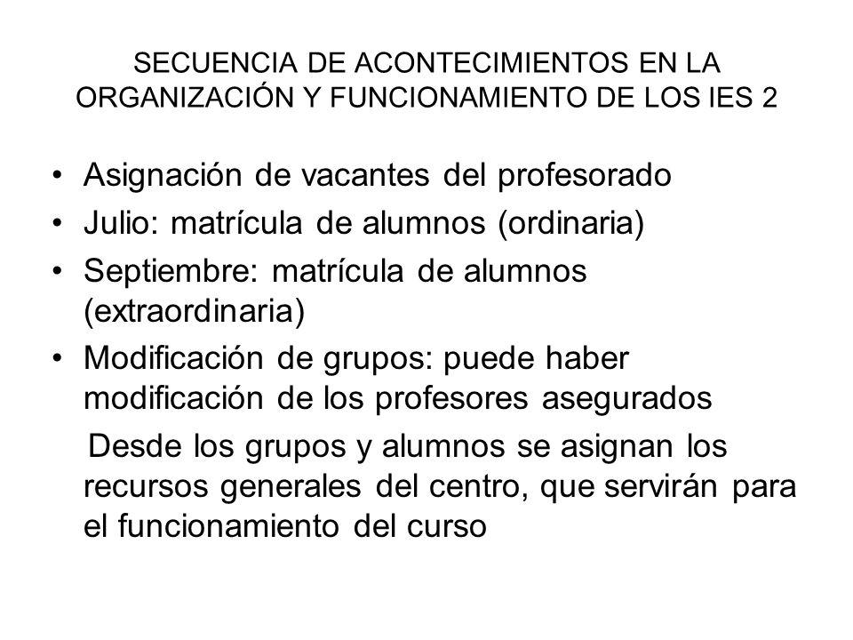 SECUENCIA DE ACONTECIMIENTOS EN LA ORGANIZACIÓN Y FUNCIONAMIENTO DE LOS IES 2 Asignación de vacantes del profesorado Julio: matrícula de alumnos (ordi