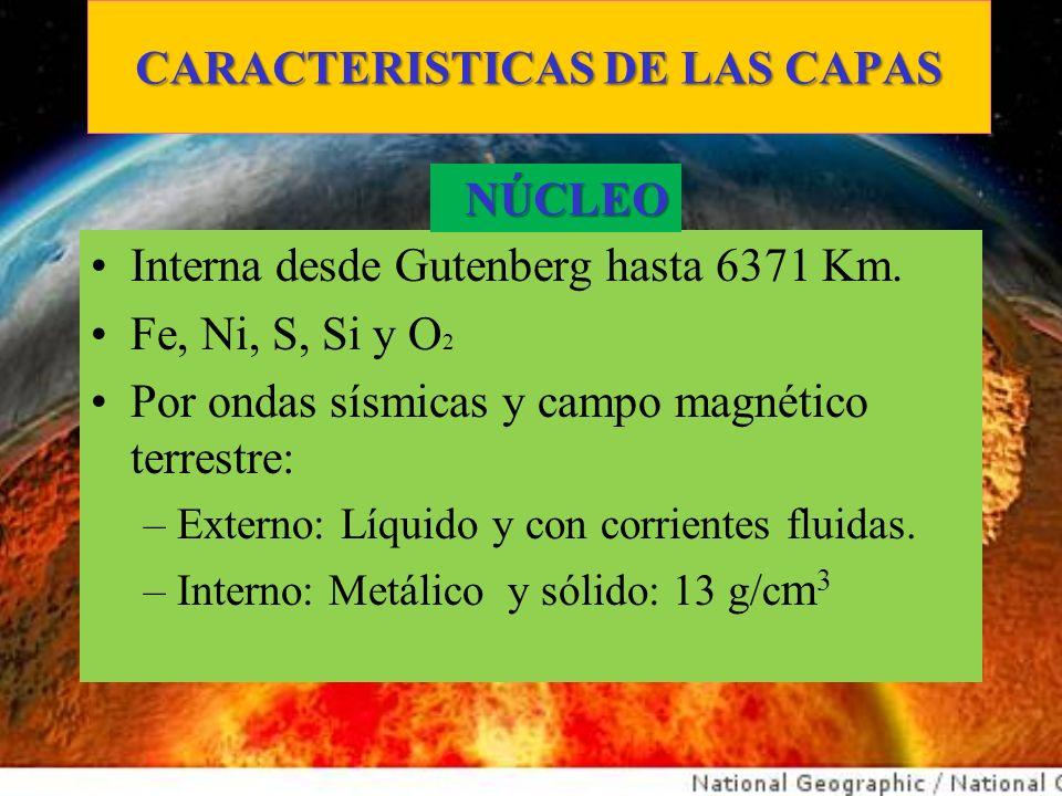 CARACTERISTICAS DE LAS CAPAS Interna desde Gutenberg hasta 6371 Km. Fe, Ni, S, Si y O 2 Por ondas sísmicas y campo magnético terrestre: –Externo: Líqu