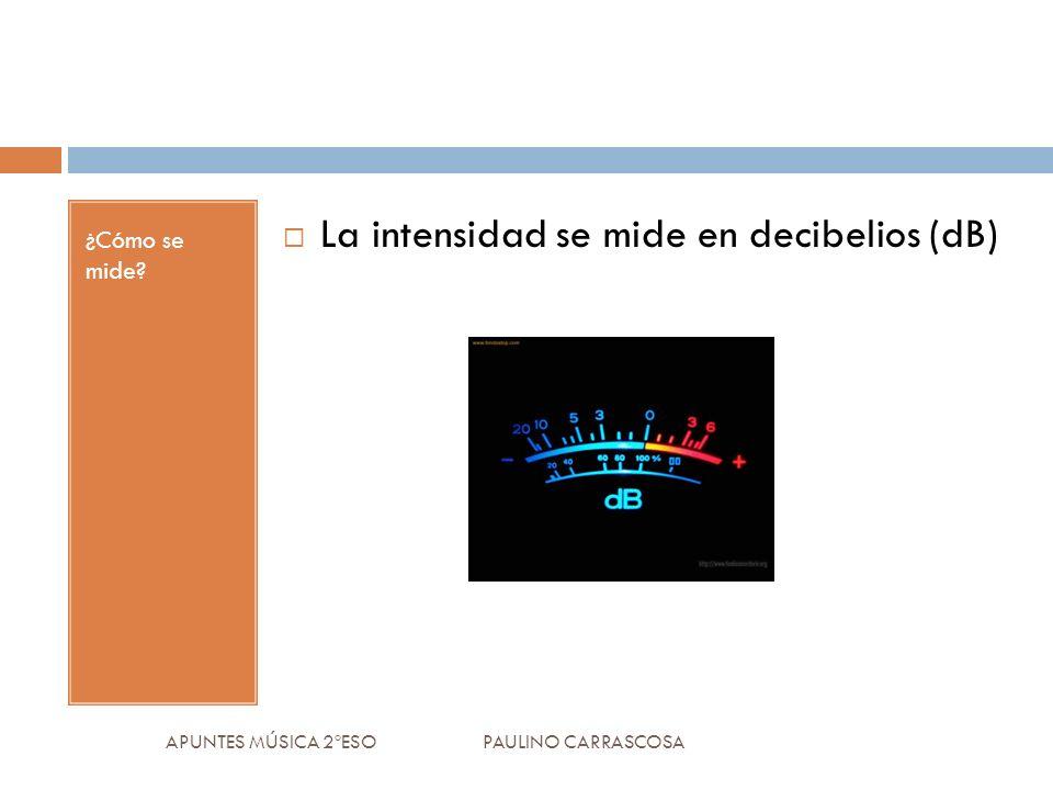 ¿Cómo se mide? La intensidad se mide en decibelios (dB) APUNTES MÚSICA 2ºESO PAULINO CARRASCOSA