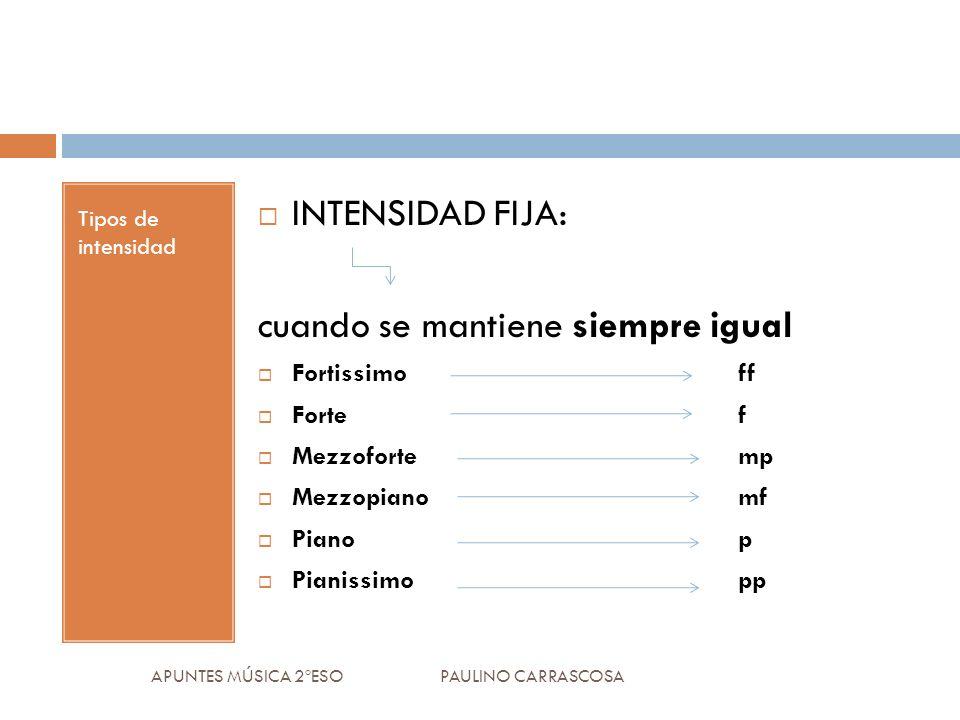 Tipos de intensidad INTENSIDAD FIJA: cuando se mantiene siempre igual Fortissimo ff Forte f Mezzofortemp Mezzopianomf Pianop Pianissimopp APUNTES MÚSI