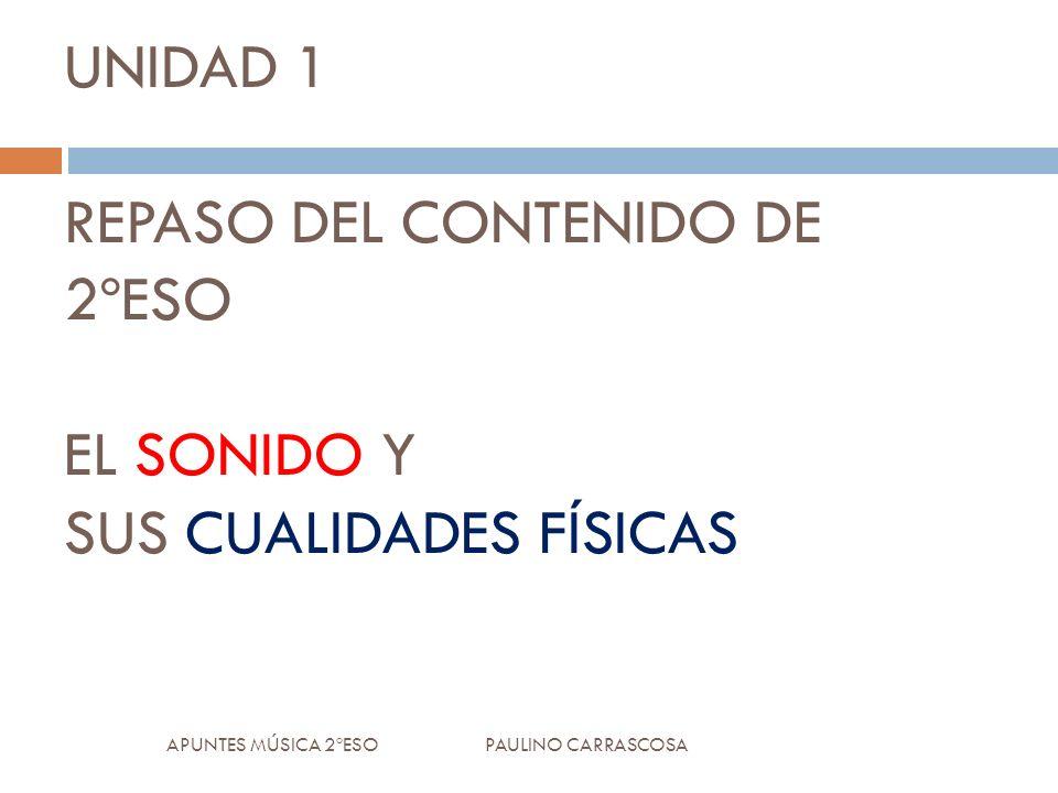 UNIDAD 1 REPASO DEL CONTENIDO DE 2ºESO EL SONIDO Y SUS CUALIDADES FÍSICAS APUNTES MÚSICA 2ºESO PAULINO CARRASCOSA