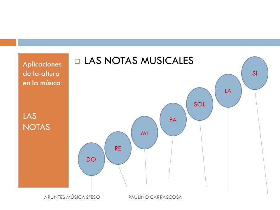 Aplicaciones de la altura en la música: LAS NOTAS LAS NOTAS MUSICALES APUNTES MÚSICA 2ºESO PAULINO CARRASCOSA SI SOL MI LA FA DO RE