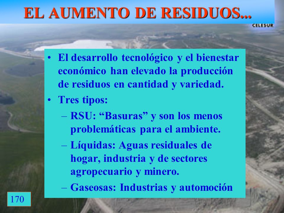 EL AUMENTO DE RESIDUOS... 170 Vertedero de Pinto: 320ha El desarrollo tecnológico y el bienestar económico han elevado la producción de residuos en ca