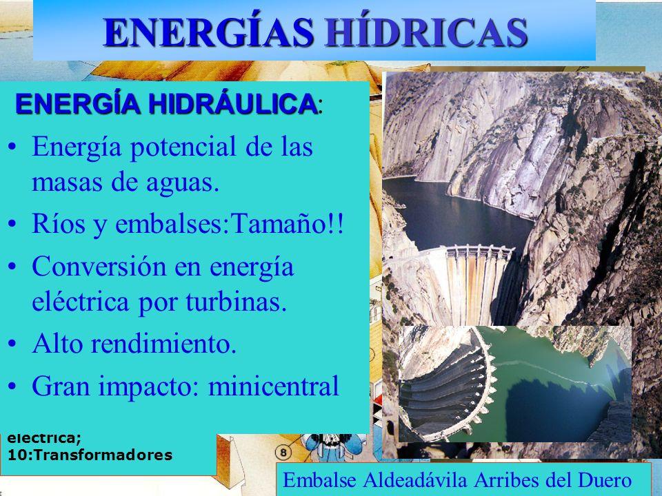 ENERGÍAS HÍDRICAS 1: Agua embalsada; 2: Presa; 3: Rejillas filtradoras; 4: Tubería forzada; 5: Turbina- alternador; 6: Turbina; 7: Eje; 8: Generador 9