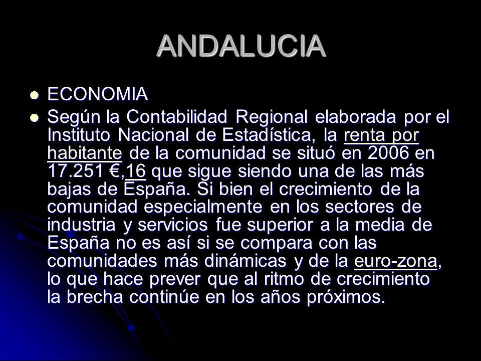 ANDALUCIA ECONOMIA ECONOMIA Según la Contabilidad Regional elaborada por el Instituto Nacional de Estadística, la renta por habitante de la comunidad