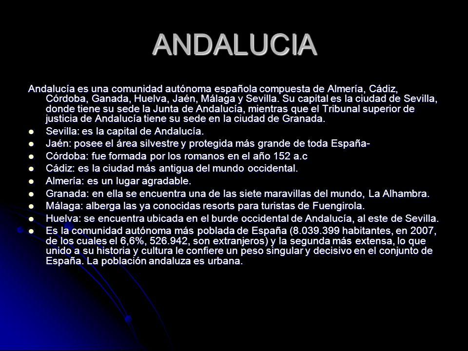 ANDALUCIA Andalucía es una comunidad autónoma española compuesta de Almería, Cádiz, Córdoba, Ganada, Huelva, Jaén, Málaga y Sevilla. Su capital es la