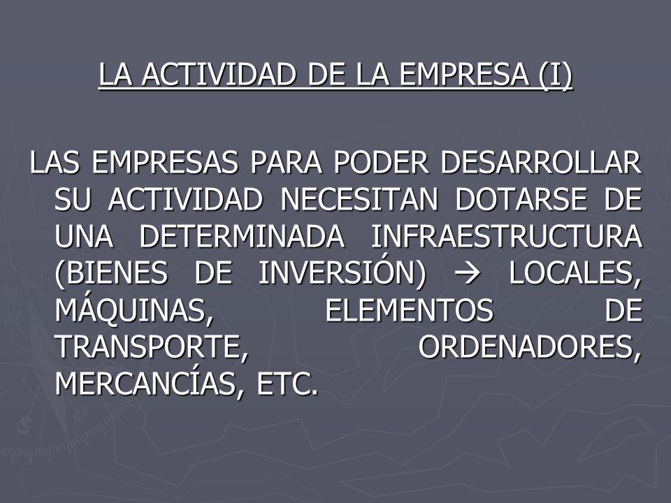 LA ACTIVIDAD DE LA EMPRESA (I) LAS EMPRESAS PARA PODER DESARROLLAR SU ACTIVIDAD NECESITAN DOTARSE DE UNA DETERMINADA INFRAESTRUCTURA (BIENES DE INVERS