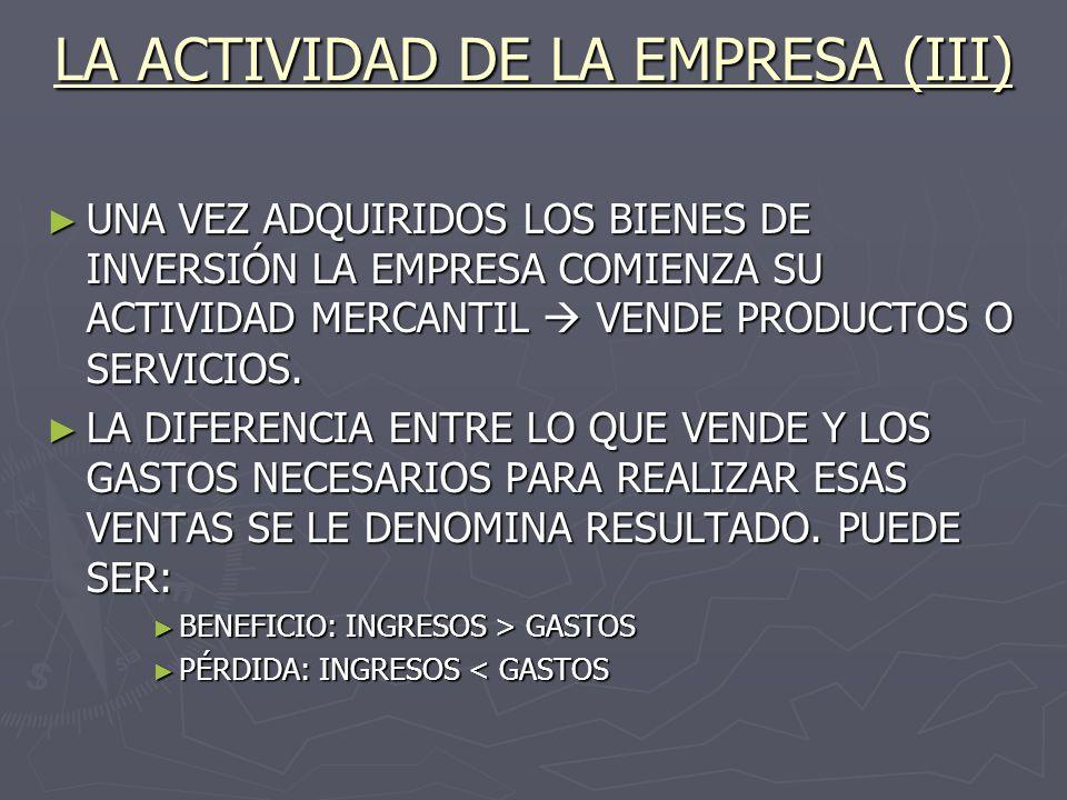 LA ACTIVIDAD DE LA EMPRESA (III) UNA VEZ ADQUIRIDOS LOS BIENES DE INVERSIÓN LA EMPRESA COMIENZA SU ACTIVIDAD MERCANTIL VENDE PRODUCTOS O SERVICIOS. UN