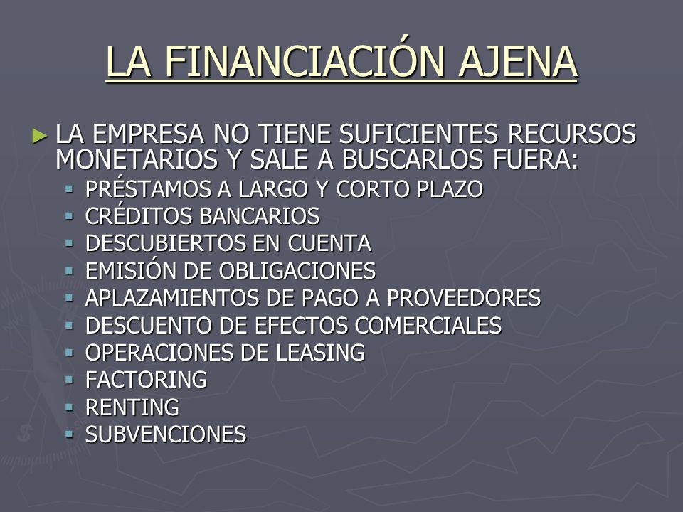 LA FINANCIACIÓN AJENA LA EMPRESA NO TIENE SUFICIENTES RECURSOS MONETARIOS Y SALE A BUSCARLOS FUERA: LA EMPRESA NO TIENE SUFICIENTES RECURSOS MONETARIO