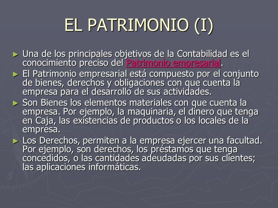 EL PATRIMONIO (I) Una de los principales objetivos de la Contabilidad es el conocimiento preciso del Patrimonio empresarial. Una de los principales ob