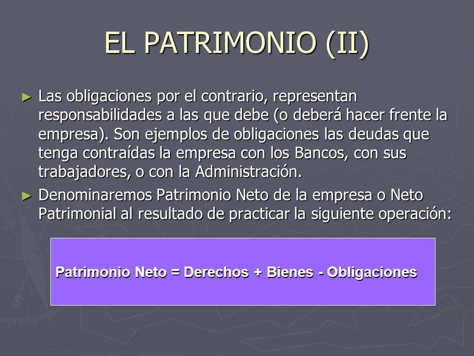EL PATRIMONIO (II) Las obligaciones por el contrario, representan responsabilidades a las que debe (o deberá hacer frente la empresa). Son ejemplos de