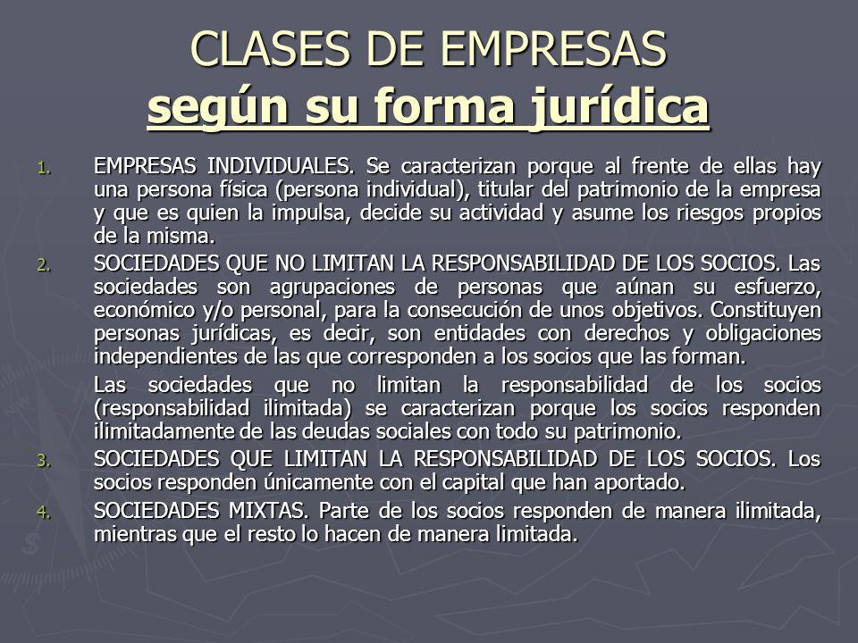 CLASES DE EMPRESAS según su forma jurídica 1. EMPRESAS INDIVIDUALES. Se caracterizan porque al frente de ellas hay una persona física (persona individ