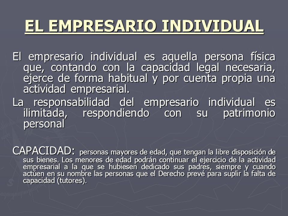 EL EMPRESARIO INDIVIDUAL El empresario individual es aquella persona física que, contando con la capacidad legal necesaria, ejerce de forma habitual y