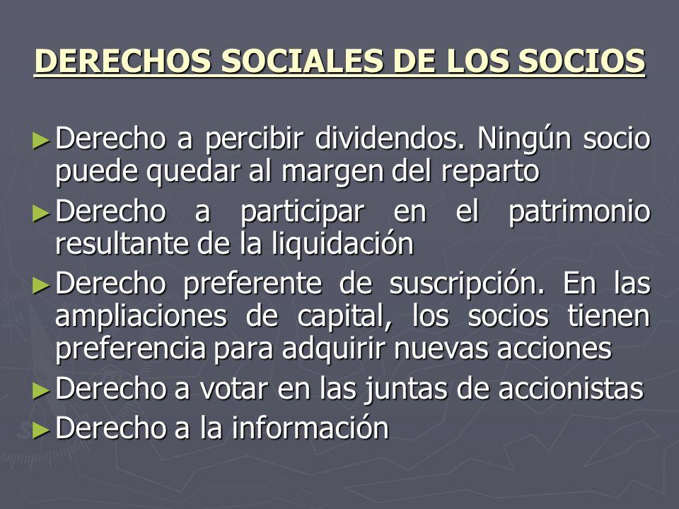 DERECHOS SOCIALES DE LOS SOCIOS Derecho a percibir dividendos. Ningún socio puede quedar al margen del reparto Derecho a percibir dividendos. Ningún s