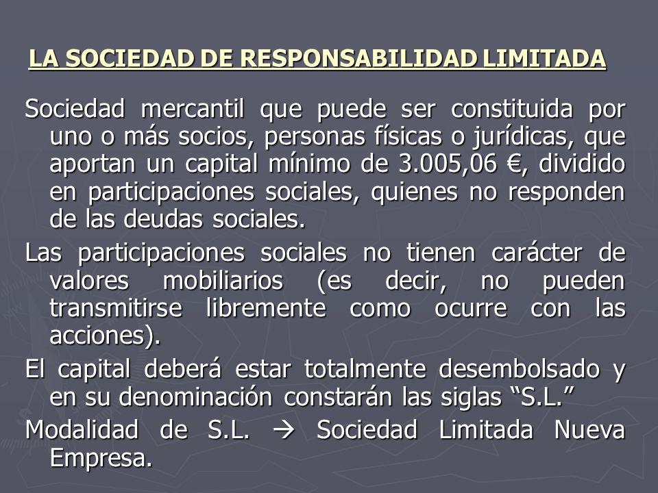 LA SOCIEDAD DE RESPONSABILIDAD LIMITADA Sociedad mercantil que puede ser constituida por uno o más socios, personas físicas o jurídicas, que aportan u