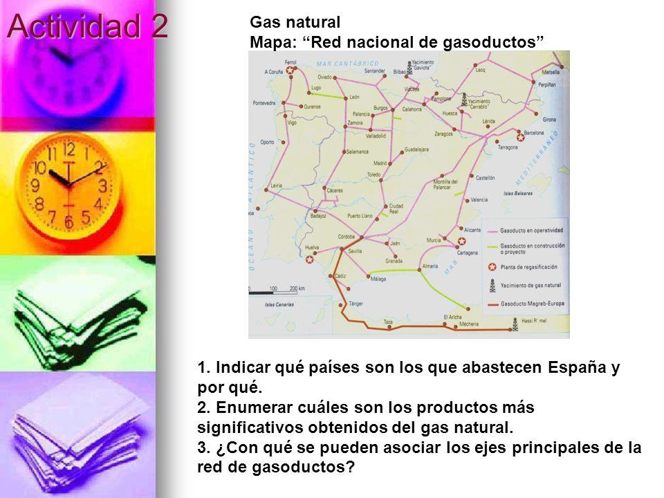 Actividad 2 Gas natural Mapa: Red nacional de gasoductos 1. Indicar qué países son los que abastecen España y por qué. 2. Enumerar cuáles son los prod