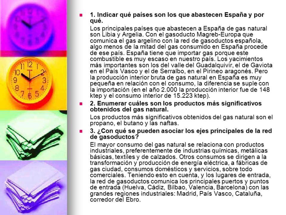 1. Indicar qué países son los que abastecen España y por qué. 1. Indicar qué países son los que abastecen España y por qué. Los principales países que